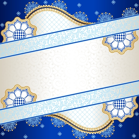 baroque border: Banner in vibrant blue, orange, and gold; inspired by Indian henna tattoos  Graphics are grouped and in several layers for easy editing  The file can be scaled to any size  Illustration