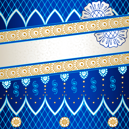 Banner in vibrant blue, orange, and gold; inspired by Indian henna tattoos  Graphics are grouped and in several layers for easy editing  The file can be scaled to any size  Illusztráció