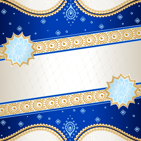 Banner in vibrant blue, orange, and gold; inspired by Indian henna tattoos  Graphics are grouped and in several layers for easy editing  The file can be scaled to any size  Illustration