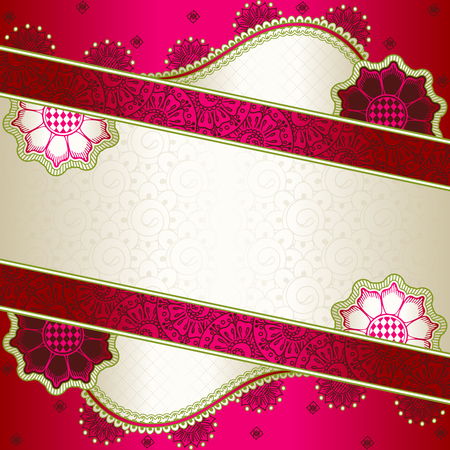 Banner in vibrant pink, green, and gold; inspired by Indian henna tattoos  Graphics are grouped and in several layers for easy editing  The file can be scaled to any size