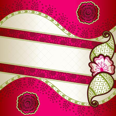 pink green: Banner en vibrante Rosa, verde y oro; inspirado en la India Gr�ficos tatuajes de henna son agrupados y en varias capas para editar f�cilmente el archivo se puede escalar a cualquier tama�o