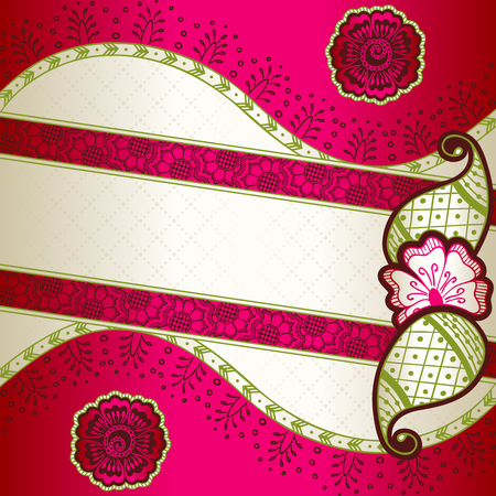 any size: Banner in vibrant pink, green, and gold; inspired by Indian henna tattoos  Graphics are grouped and in several layers for easy editing  The file can be scaled to any size