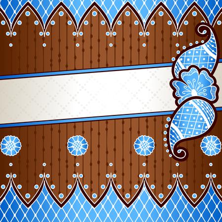 手描きデザインで青と銅のバナー  イラスト・ベクター素材