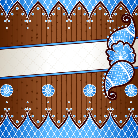 bronze background: Blue and bronze banner with hand drawn designs