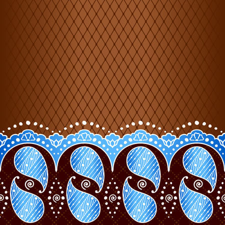 Blue and bronze background with hand drawn designs Иллюстрация