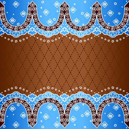 Blue and bronze background with hand drawn designs