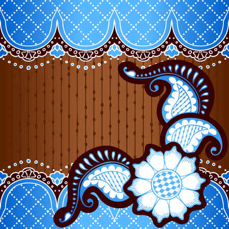 Blue and bronze background with hand drawn designs Ilustrace
