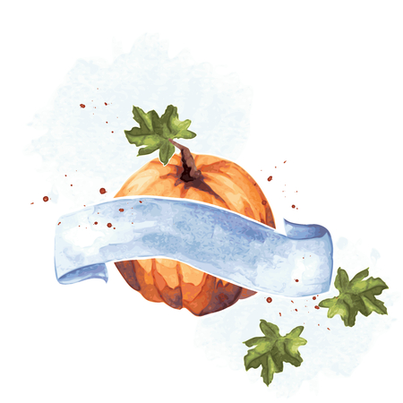 Watercolor-like autumnal illustration with a pumpkin & blue banner.