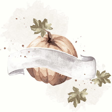 Watercolor-like, sepia autumnal illustration with a pumpkin & white banner.