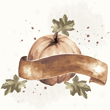 Watercolor-like, sepia autumnal illustration with pumpkin & brown banner. Ilustrace