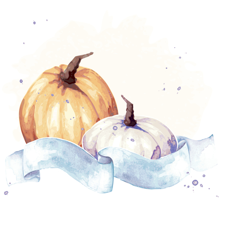 Watercolor-like autumnal illustration with two pumpkins & blue banner.