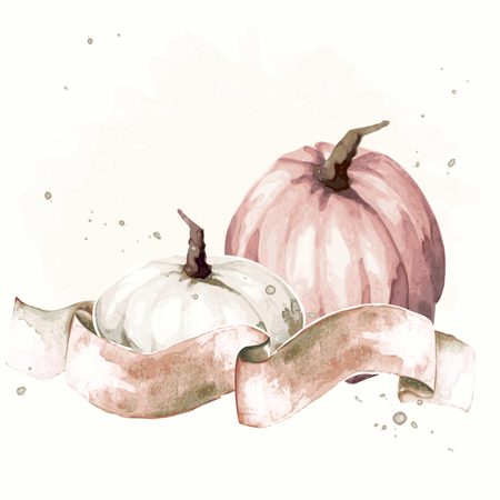 Watercolor-like, sepia autumnal illustration with two pumpkins & a banner.