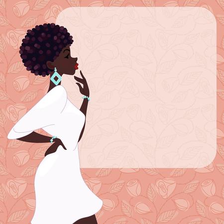 Illustration brillante de, une femme à la mode à la peau foncée avec coiffure naturelle, sur un fond rose de roses. Graphiques sont regroupés en plusieurs couches pour faciliter l'édition. Le fichier peut être adapté à toutes les tailles.