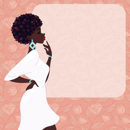 Bright illustration of a fashionable, dark-skinned woman with natural hairstyle, against a pink background of roses. Graphics are grouped and in several layers for easy editing. The file can be scaled to any size.