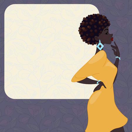 vestido de noche: Ilustración de una mujer de moda, de piel oscura con el peinado natural, contra un fondo púrpura oscuro de rosas. Gráficos y se agrupan en varias capas para editar fácilmente. El archivo se puede escalar a cualquier tamaño. Vectores