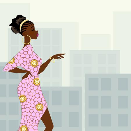 自然髪型とピンとのファッショナブルな浅黒い女性のイラストの高層ビルの背景にドレスします。グラフィックをグループ化および簡単な編集のためのいくつかの層。ファイルは、任意のサイズにスケールできます。 写真素材 - 34689586