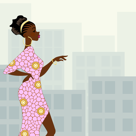 evening dress: Illustration of a fashionable dark-skinned woman with natural hairstyle and a pin dress against a background of high-rise buildings. Graphics are grouped and in several layers for easy editing. The file can be scaled to any size.