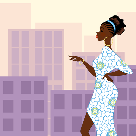 Illustration of a fashionable dark-skinned woman with natural hairstyle against a background of high-rise buildings in evening light. Graphics are grouped and in several layers for easy editing. The file can be scaled to any size.