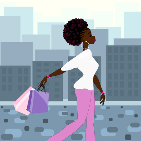 Illustration of a dark-skinned woman with natural hairstyle carrying shopping bags against a background of daytime high-rise buildings. Graphics are grouped and in several layers for easy editing. The file can be scaled to any size.