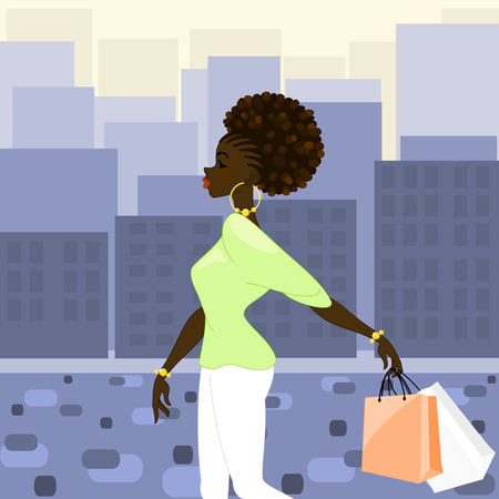 Illustration of a dark-skinned woman with natural hairstyle carrying shopping bags against a background of high-rise buildings in morning light. Graphics are grouped and in several layers for easy editing. The file can be scaled to any size. Illustration