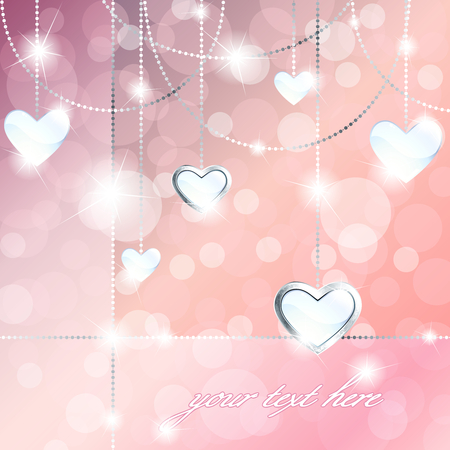 Elegant pale pink romance-themed background with white gemstone pendants. Graphics are grouped and in several layers for easy editing. The file can be scaled to any size. Illustration
