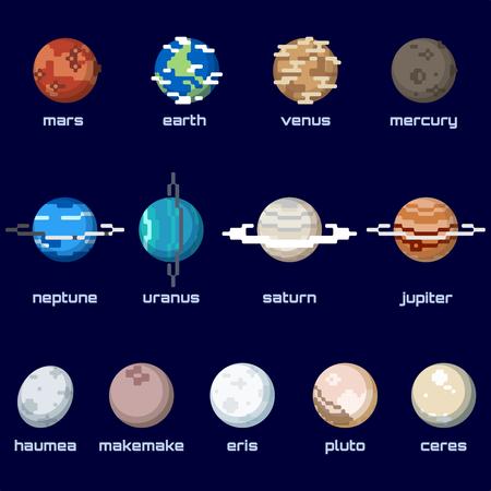 복고풍 픽셀 화 스타일 난쟁이 행성을 포함한 행성의 집합입니다. 그래픽 그룹화 및 여러 레이어는 쉽게 편집 할 수 있습니다. 이 파일은 크기를 조정