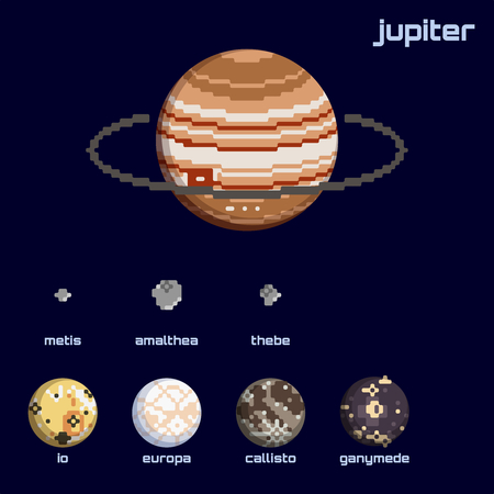 Set of the Jupiter system, including moons and the planet, in a retro pixelated style. Graphics are grouped and in several layers for easy editing. The file can be scaled to any size.