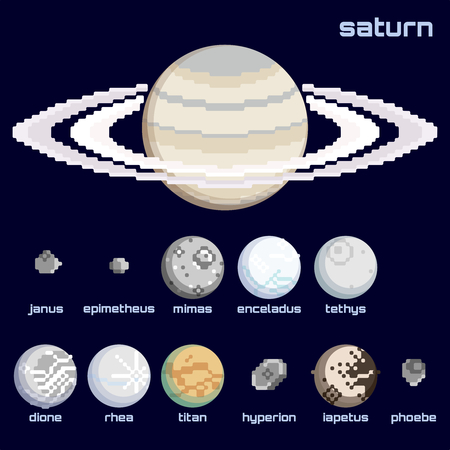 Set of the Saturn system, including moons and the planet, in a retro pixelated style. Graphics are grouped and in several layers for easy editing. The file can be scaled to any size.