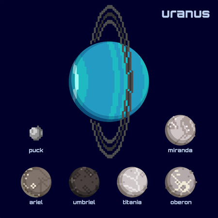 Set of the Uranus system, including moons and the planet, in a retro pixelated style. Graphics are grouped and in several layers for easy editing. The file can be scaled to any size.