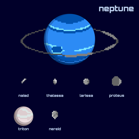 Set of the Neptune system, including moons and the planet, in a retro pixelated style. Graphics are grouped and in several layers for easy editing. The file can be scaled to any size.