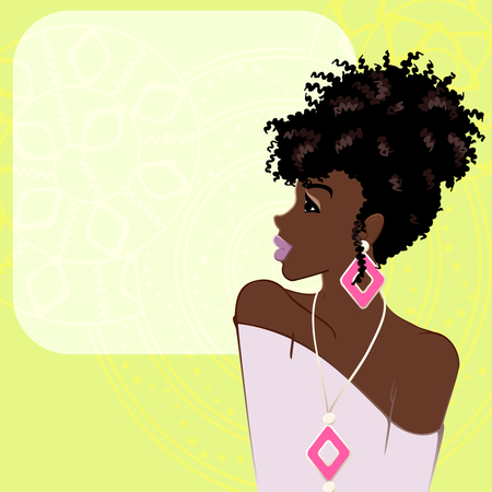 Illustration of a beautiful, dark-skinned woman with natural hair against a bright green background. Graphics are grouped and in several layers for easy editing. The file can be scaled to any size. Vectores