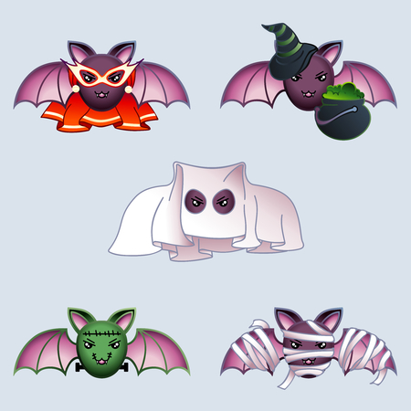 Set of 5 cute cartoon bats wearing various Halloween costumes. Graphics are grouped and in several layers for easy editing. The file can be scaled to any size. Ilustrace