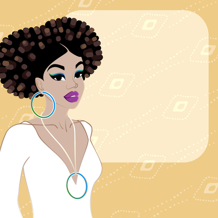 옅은 오렌지 배경에 대해 자연적인 머리를 가진 아름 다운, 어두운 피부 여자의 그림. 그래픽 그룹화 및 여러 레이어는 쉽게 편집 할 수 있습니다. 이