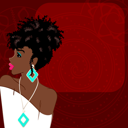 Illustration of a beautiful, dark-skinned woman with natural hair against a dark red background. Graphics are grouped and in several layers for easy editing. The file can be scaled to any size. Illustration