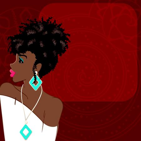 cabello rizado: Ilustración de una mujer hermosa, de piel morena con el pelo natural contra un fondo rojo oscuro. Los gráficos son agrupados y en varias capas para editar fácilmente. El archivo se puede escalar a cualquier tamaño.