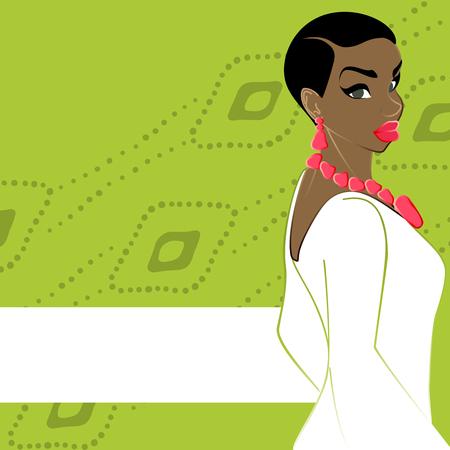 Bianco sul banner verde con una bella, donna dalla carnagione scura con capelli naturali. Grafica e sono raggruppati in diversi livelli per un facile montaggio. Il file può essere scalata a qualsiasi dimensione. Archivio Fotografico - 46791618