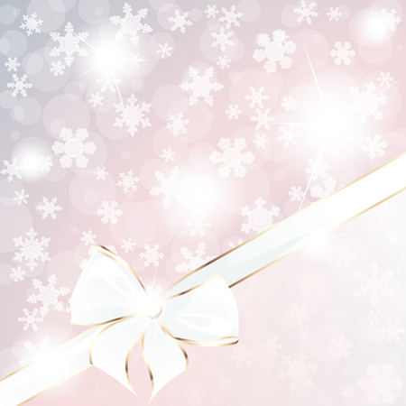 any size: Sparkly background with snowflakes and an elegant gold and white bow. Graphics are grouped and in several layers for easy editing. The file can be scaled to any size.