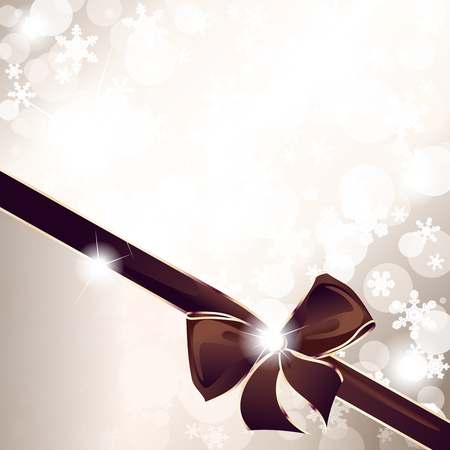 Sparkly background with snowflakes and an elegant gold and brown bow. Graphics are grouped and in several layers for easy editing. The file can be scaled to any size. Ilustrace