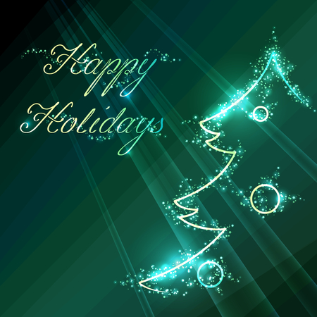 Dark green winter illustration with sparkles and a stylized christmas tree outline. Graphics are grouped and in several layers for easy editing. The file can be scaled to any size.