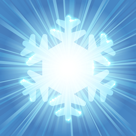 Bright blue snowflake silhouette with sparkles and a starburst background. Graphics are grouped and in several layers for easy editing. The file can be scaled to any size.