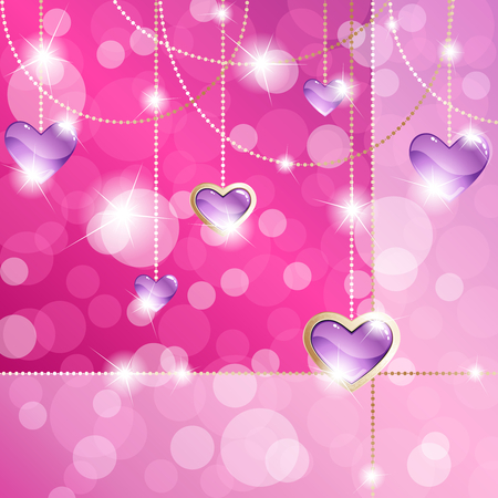 Elegant hot pink romance-themed background with gold gemstone pendants. Graphics are grouped and in several layers for easy editing. The file can be scaled to any size. Ilustração