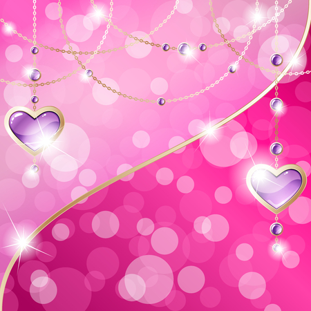 Elegant hot pink romance-themed background with gold gemstone pendants. Graphics are grouped and in several layers for easy editing. The file can be scaled to any size. Ilustrace