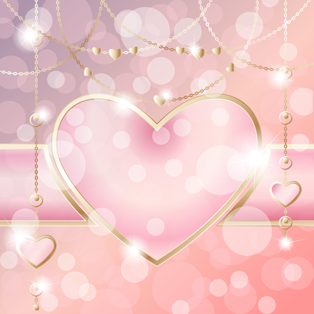 Elegant romantic frame with gold pendants, on a peach pink background. Graphics are grouped and in several layers for easy editing. The file can be scaled to any size.