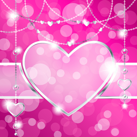 any size: Elegant romantic frame with silver pendants, on a hot pink background. Graphics are grouped and in several layers for easy editing. The file can be scaled to any size. Illustration