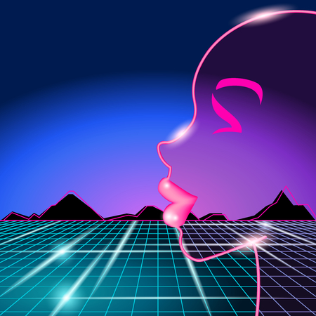 electronica: 1980s style cyberpunk image with silhouette of a womans face.