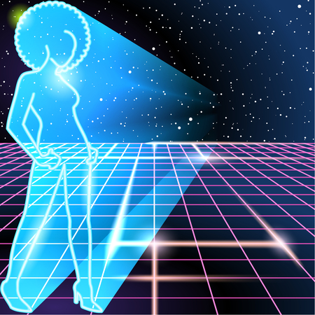 energy grid: 1980s style image with silhouette of a woman sporting an afro.