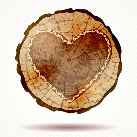 tree ring: Detailed wooden button with a decorative heart shape.