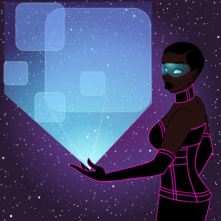 image size: retrofuturistic image in red-purple tones of a black woman holding a holographic display. Graphics are grouped and in several layers for easy editing. The file can be scaled to any size.