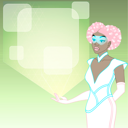 retrofuturistic image in pastel tones of a black woman holding a holographic display. Graphics are grouped and in several layers for easy editing. The file can be scaled to any size.