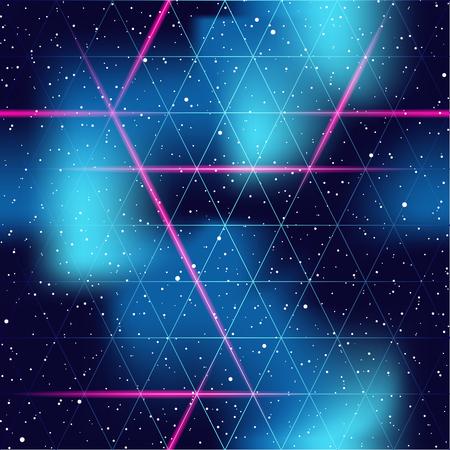 1980 geïnspireerde retrofuturistic naadloos patroon. Graphics zijn gegroepeerd en in verschillende lagen voor eenvoudige bewerking. Het bestand kan worden geschaald naar elke grootte